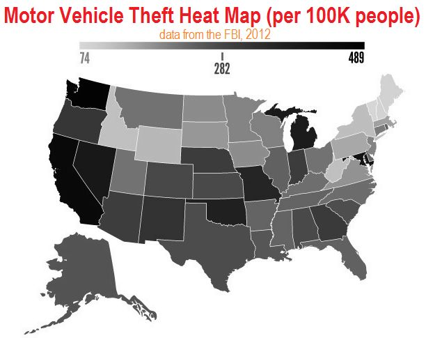 US Crime Heat Map Demographic Data - Us map of crime rates
